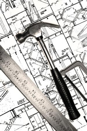 hammer on a blueprint Stock Photo - 12565904