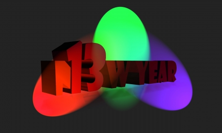 thirteen: New year 2013 with multicolored lights Stock Photo