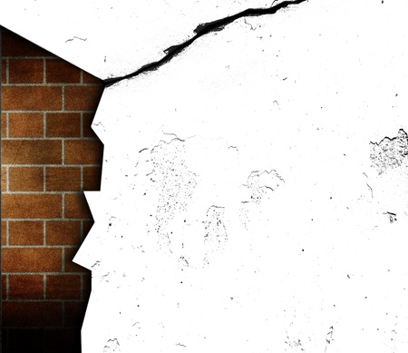 craked: craked open wall with inner brickwall visible Stock Photo