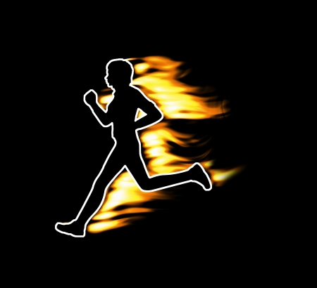 Fast running human symbolized by flames photo