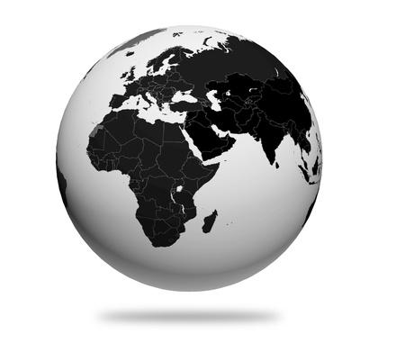 Black and white 3d globe photo