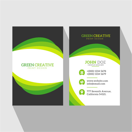 Multi Greenery Curvy Nature Type Business Card