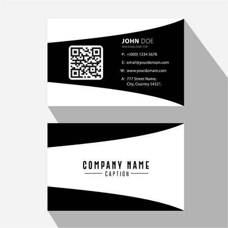 Simple Black and White Curved Screen Business Card