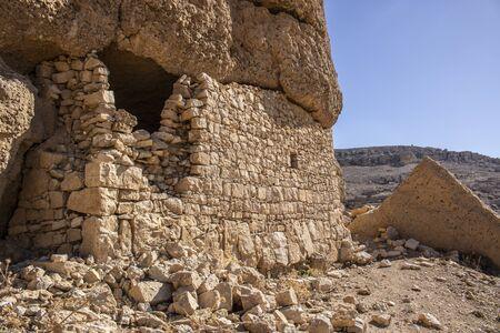 abandoned very old stone buildings in the Tafila area of Jordan