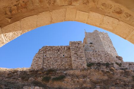 Kerak Castle is a large Crusader castle located in al-Karak, Jordan. It is one of the largest crusader castles in the Levant. Construction of the castle began in the 1140s, under Pagan and Fulk, King of Jerusalem. The Crusaders called it Crac des Moabites Editorial