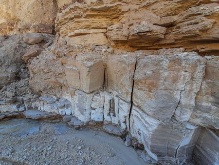 various rocks in Wadi Araba that form a different formations Banco de Imagens