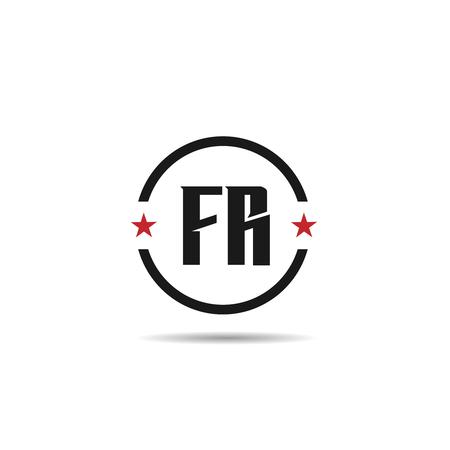 Initial Letter FR Logo Template Design Ilustracja