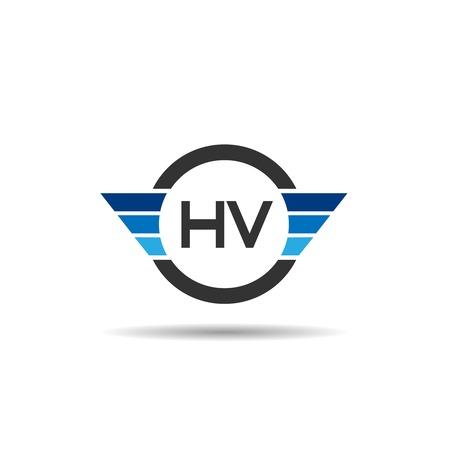 Initial Letter HV Logo Template Design