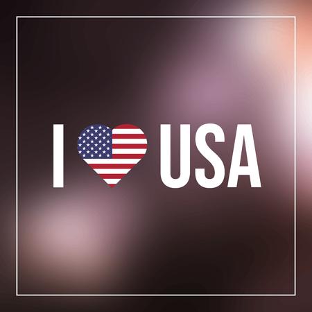 I Love USA text with heart flag Illusztráció