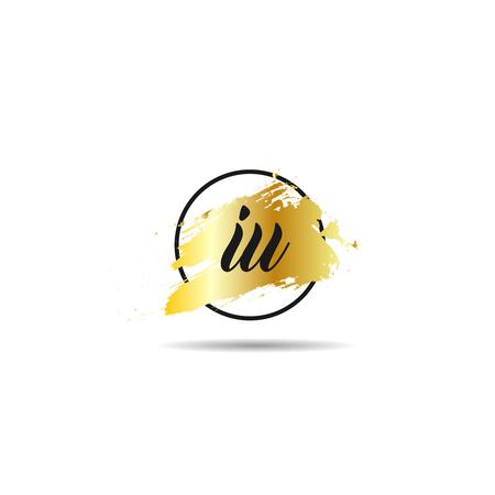 Initial Letter IU Logo Template Design Çizim