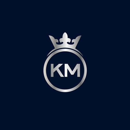 Initial Letter KM Logo Template Design