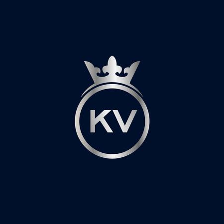 Initial Letter KV Logo Template Design