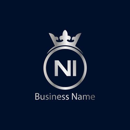 Initial Letter NI Logo Template Design
