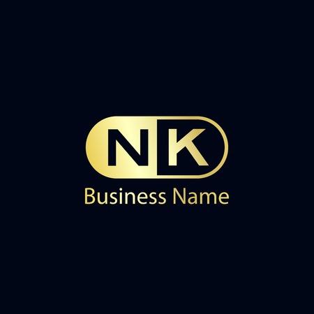Initial Letter NK Logo Template Design