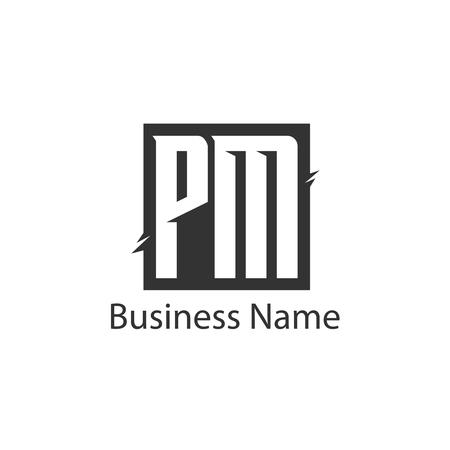 最初の文字 PM ロゴ テンプレート デザイン