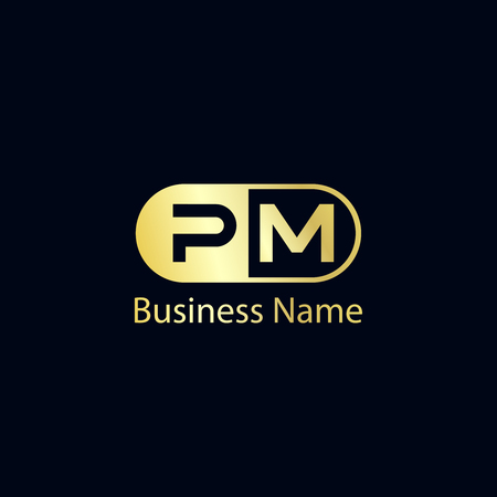 Initial Letter PM Logo Template Design  イラスト・ベクター素材