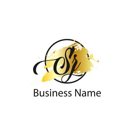 Eerste brief SZ Logo sjabloonontwerp Logo