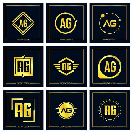 Initial Letter AG Logo Set Design
