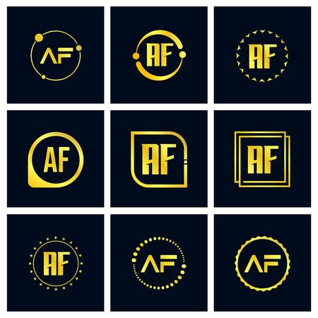 Initial Letter AF Logo Set Design Ilustração