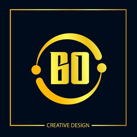 Initial Letter BO Template Design Çizim