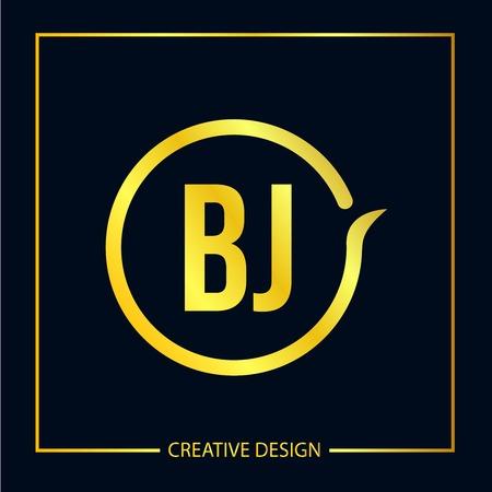 Initial Letter BJ Template Design Vektoros illusztráció