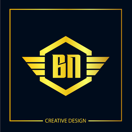 Initial Letter BN Template Design Vektoros illusztráció