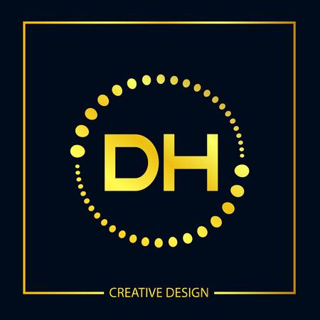 Initial Letter DH Template Design Vektoros illusztráció