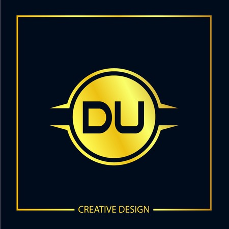 Initial Letter DU Template Design Illustration