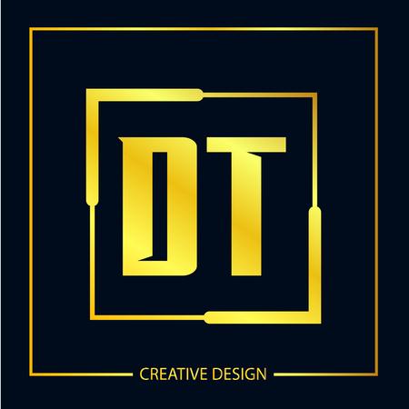 Initial Letter DT Template Design Vektoros illusztráció