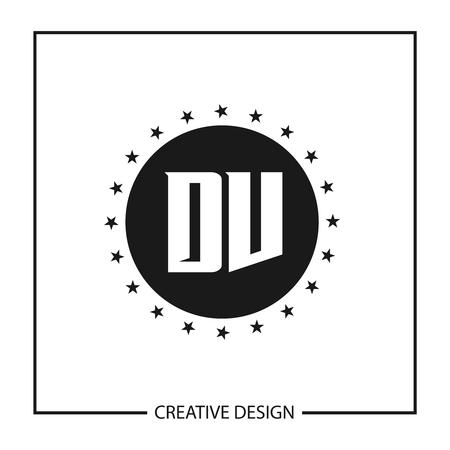 Initial Letter DV Template Design Vektoros illusztráció