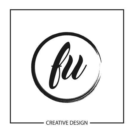 Initial Letter  FU Template Design Illustration