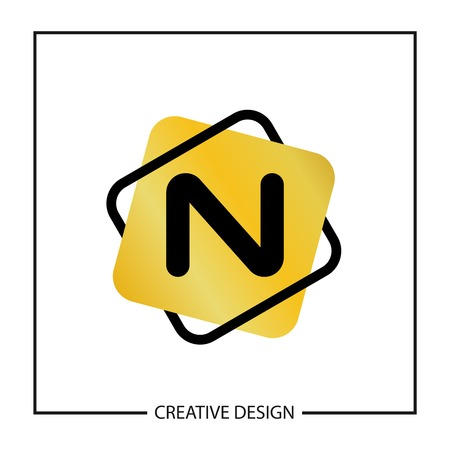 Initial Letter N  Template Vector Design