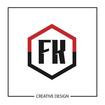 Initial Letter FK Template Design Vektoros illusztráció