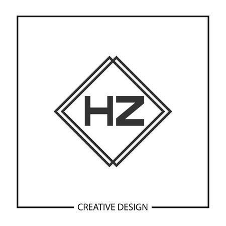 Initial HZ Letter Logo Template Design Illusztráció