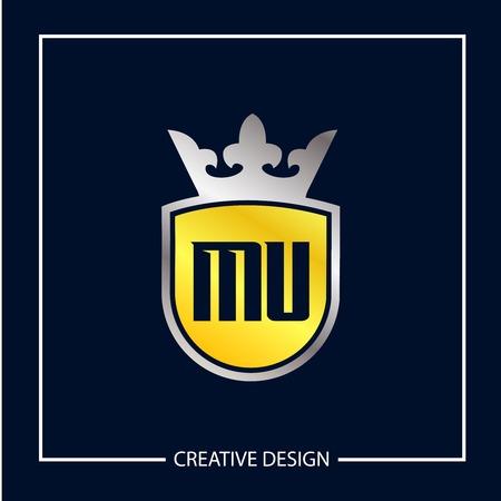 Initial MU Letter Logo Template Design