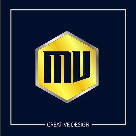 Initial MV Letter Logo Template Design