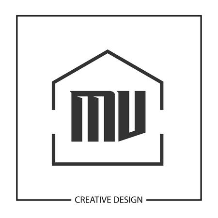 Initial Letter MV Logo Template Design