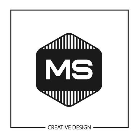Initial Letter MS Logo Template Design Ilustração