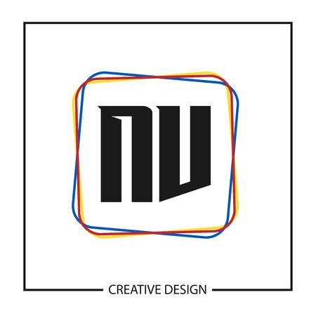 Initial NV Letter Logo Template Design