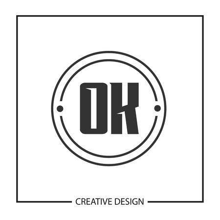 Initial OK Letter Logo Template Design