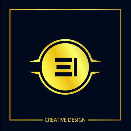 Initial EI Letter Logo Template Design Illusztráció