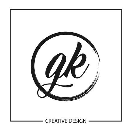 Initial GK Letter Logo Template Design