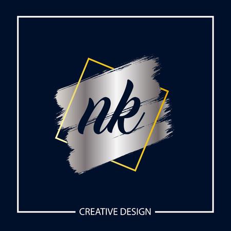 Initial NK Letter Logo Template Design