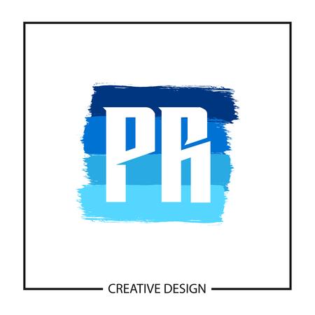Initial PR Letter Logo Template Design