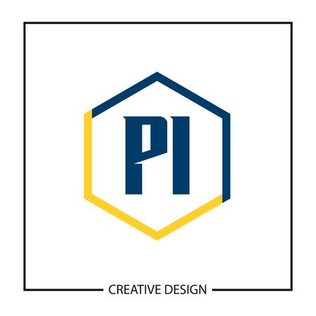 Initial PI Letter Logo Template Design