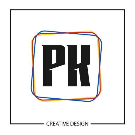 Initial PK Letter Logo Template Design Logó