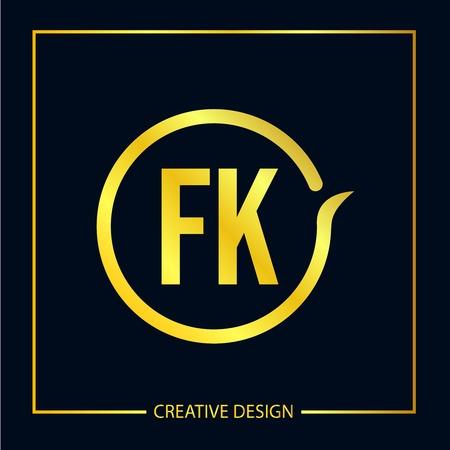 Initial FK Letter Logo Template Design