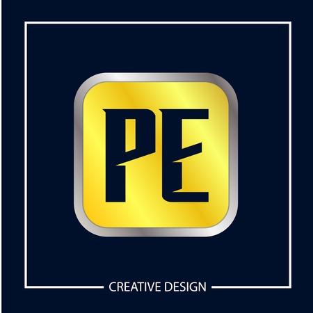 Initial Letter PE Logo Template Design