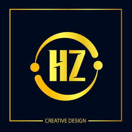 Initial Letter HZ Logo Template Design Vector Illustrator Illusztráció