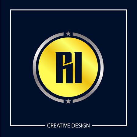 Initial Letter RI Logo Template Design Vector Illustration Stock fotó - 113000923